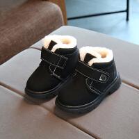 儿童棉鞋男童2女孩季短靴女童雪地靴防水宝宝棉鞋加绒1-3岁保暖 亮黑色 猪皮雪地靴