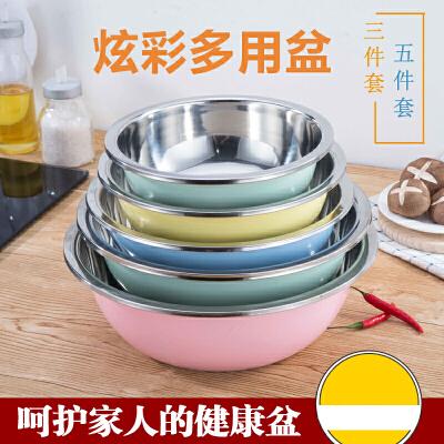 不锈钢盆五件套圆形厨房家用加深加厚盆套装汤盆打蛋和面洗菜盆 不锈钢盆五件套洗菜盆