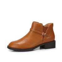 camel骆驼女鞋 冬季新品时尚简约真皮舒适保暖靴子粗跟短靴