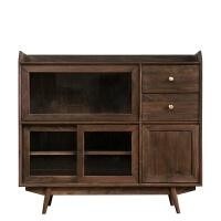 北欧实木餐边柜现代简约餐厅厨房储物柜家具黑胡桃/白橡木蜡油 双门