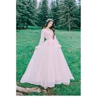 春夏新款海边度假甜美粉色雪纺长裙文艺复古蕾丝刺绣气质连衣裙仙女大摆长裙 粉色