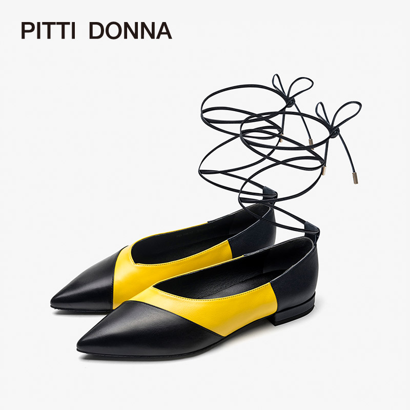 PITTI DONNA新款尖头拼色绑带方根网红单鞋女鞋9T19612 拼色绑带方根网红单鞋