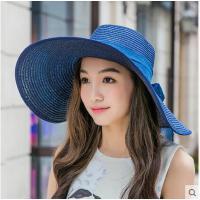 大沿可折叠草帽防紫外线海边休闲太阳帽沙滩帽子女夏天遮阳帽