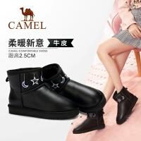 骆驼女鞋冬季新款短靴 休闲真皮女靴子学院风平跟雪地靴女