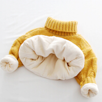 女童毛衣加绒加厚女宝宝高领保暖上衣韩版儿童秋新款打底针织衫 黄色加绒 三麻花