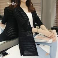 夏季新款韩版空调防晒衫纯色中长款针织开衫镂空披肩毛衣外套