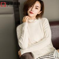 秋冬新款女装堆堆领纯羊绒衫短款套头毛衣韩版宽松纯色打底针织衫
