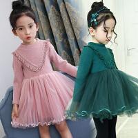 女童连衣裙秋新款童装儿童裙子过年红粉色针织毛衣裙加绒公主裙