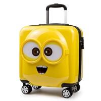 儿童旅行箱小黄人万向轮拉杆箱手拉箱新品18寸可爱登机皮箱密码箱行李箱20寸手拉箱新品 柠檬黄 (3D立体)