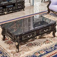 欧式大理石面茶几全实木雕几电视柜组合深色客厅色茶水桌 整装