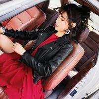 皮夹克女2018新款韩版百搭显瘦黑色短款皮衣修身小外套pu机车服 黑色