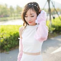 雪纺蕾丝素色防晒袖套手套 长款遮阳袖套蕾丝袖套女防晒夏季冰丝冰袖手袖防紫外线手套开车长款护 粉色