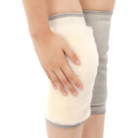 羊毛保暖护膝套筒皮毛一体羊绒保暖防寒加厚加绒秋冬款防护腿部男女士 套筒款 灰色