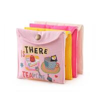 装卫生巾的收纳包 帆布大容量卡通可爱卫生巾收纳包简约暗扣装放姨妈巾卫生棉的小包 粉红色 粉色小熊