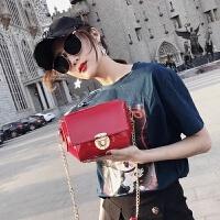 夏季新品包包韩版女迷你链条包漆皮贝壳包女包亮皮斜挎小包包