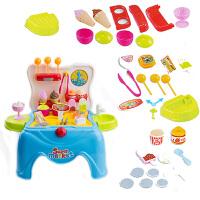 儿童DIY益智冰淇淋雪糕糖果甜品过家家外卖台凳子冰激凌玩具