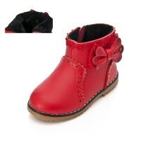 秋季女童靴子真皮1-2-3岁女宝宝短靴加绒公主小皮靴红色马丁靴