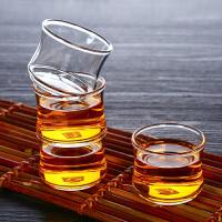 6只装竹节杯60ML耐热玻璃小茶杯透明品茗杯创意可堆叠杯耐热小玻璃杯家用功夫茶小杯子