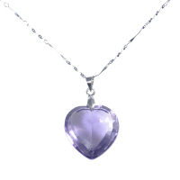梦克拉 合成水晶吊坠 缘镜 紫水晶心形项坠 项链吊坠