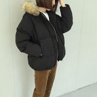 黑色女秋冬韩版宽松bf原宿风毛毛领连帽面包服学生休闲短外套