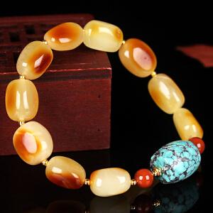 蜜蜡满蜡红皮随形创意DIY手串 配松石桶珠