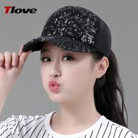 亮片帽子女士夏季韩版潮流休闲太阳帽时尚鸭舌帽遮阳帽
