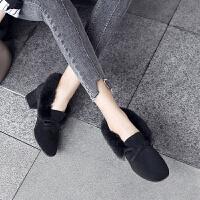 ZHR2019冬季新款加绒棉鞋英伦粗跟鞋子韩版百搭网红毛毛鞋女外穿