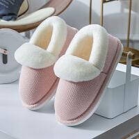 棉拖鞋女家用包跟室内厚底情侣毛绒月子鞋女士家居产后棉鞋秋冬季 36-37 适合35-36码
