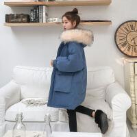 ins女中长款2018冬新款大毛领羽绒棉衣宽松bf面包服棉袄外套