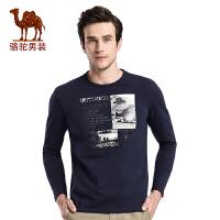 骆驼男装 秋季新款时尚圆领印花棉质日常休闲青年长袖T恤衫男