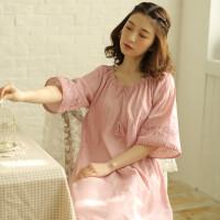 日系复古精致刺绣女士睡裙纯棉短袖夏天睡衣长款舒适大码家居裙子