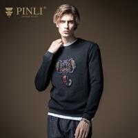 PINLI品立2020冬季新款男装圆领套头长袖针织衫毛衣男B204210206