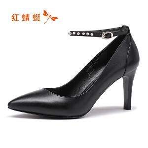 红蜻蜓女鞋2017秋季新品浅口高跟细跟尖头女单鞋时尚真皮鞋女