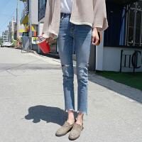 牛仔裤 女士高腰裤脚不规则薄八分牛仔裤2020年秋季新款韩版时尚女式修身女装破洞裤