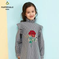 【2件3折折后到手价137.4】马克华菲童装女童衬衫2019春新款儿童纯棉韩版洋气上衣中长款外套