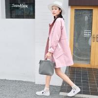 风衣女中长款2018春季新款韩版宽松简约立领春装薄款休闲女式外套 浅粉色 XS