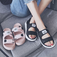 【掌柜推荐】ZHR2019新款两穿凉鞋女ins黑色平底松糕沙滩运动拖鞋女外穿可湿水