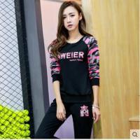户外运动韩版大码跑步运动装卫衣两件套新款休闲套装女春秋运动服
