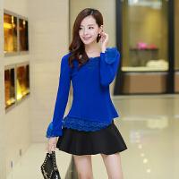 女装秋装新款韩版大码修身V领下摆蕾丝接拼打底衫上衣9.9