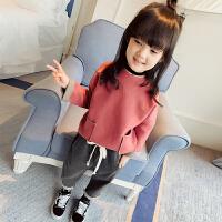 女童春装套装2018新款韩版童装儿童春秋款加厚长袖卫衣宝宝两件套 粉色