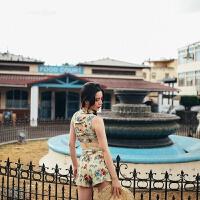 泳衣女三件套韩国复古保守修身显瘦温泉游泳遮肚裤裙分体泳衣 浅卡其