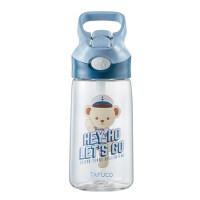 特百惠轻盈茶韵水杯380ml塑料带茶隔时尚随手心杯子茶杯 柠黄绿