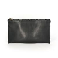 零钱包皮长款钱包拉链手机包卡包男女小钱包零钱袋薄 黑色