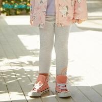 马卡乐童装2021春季新款女童弹力多色卡通图案舒适松紧打底裤长裤