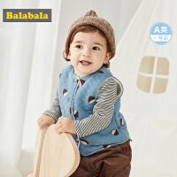 巴拉巴拉宝宝马甲冬季外穿2019新款婴儿背心加厚保暖北欧风坎肩潮