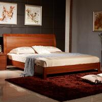 御品工匠 现代简约中式实木床1.5/1.8米实木双人床高箱床储物床