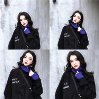 港味秋冬季加绒套头卫衣女宽松韩版黑色高领长袖上衣假两件外套潮 均码