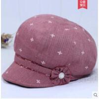 老年人女士帽子优雅时装帽女鸭舌帽布料妈妈帽小檐遮阳帽薄