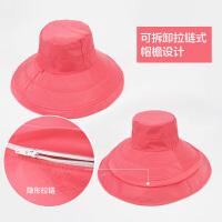 遮阳帽子女夏季时尚韩版户外出游防晒折叠海边大沿沙滩帽紫外线太阳帽