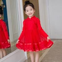 女童秋红色新年装加绒加厚旗袍连衣裙儿童演出礼服唐装公主裙子 大红 不加绒